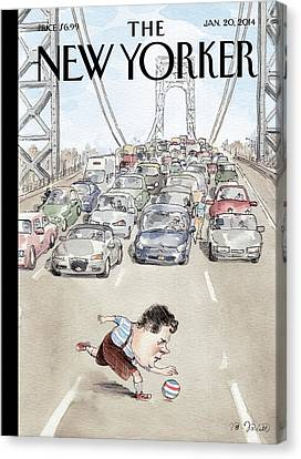 Chris Christie Plays With A Ball On The George Canvas Print by Barry Blitt