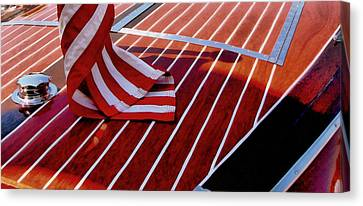 Chris Craft With American Flag Canvas Print by Michelle Calkins
