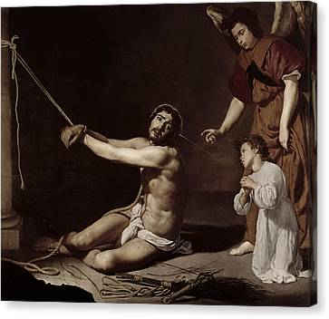 Christ After The Flagellation Contemplated By The Christian Soul Canvas Print by Diego Rodriguez de Silva y Velazquez