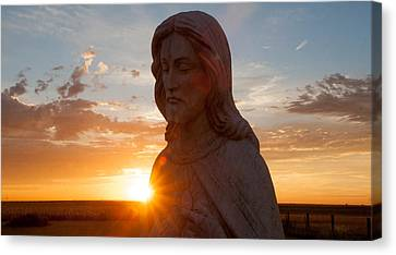 Christ And Sun Canvas Print by Shirley Heier