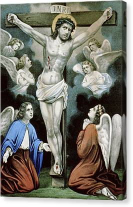 Catholic Crosses Canvas Print - Christ And The Angels Circa 1856 by Aged Pixel