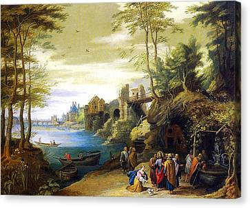 Christ And The Canaanite Woman Canvas Print by Jan Brueghel