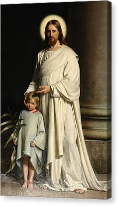 Christ And The Child Canvas Print by Carl Bloch