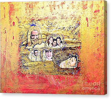 Jesus With A Child Canvas Print - Christ And The Children At The U S Border by Richard W Linford