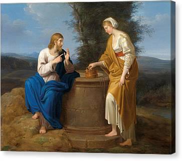 Christ And The Good Samaritan At The Well Canvas Print by Ferdinand Georg Waldmueller