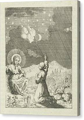 Christ And The Personified Soul Contemplate The Starry Sky Canvas Print