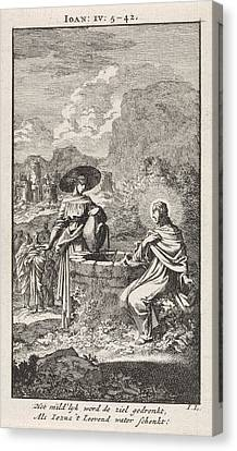 Christ And The Samaritan Woman At The Well Canvas Print by Jan Luyken And Wed. Pieter Arentsz & Cornelis Van Der Sys Ii