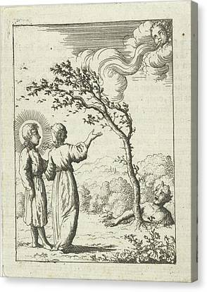 Christ And The Soul Personified In A Storm Canvas Print by Jan Luyken And Pieter Arentsz (ii)