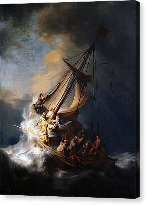 Christ And The Storm Canvas Print by Rembrandt