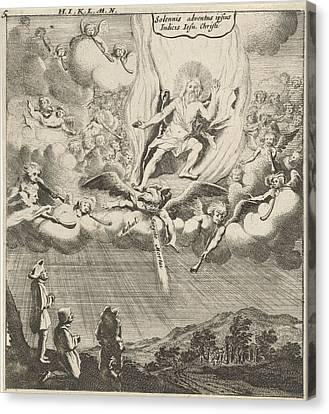 Christ Appears In The Sky, Print Maker Gillis Van Scheyndel Canvas Print by Gillis Van Scheyndel I And Gerhard Verstegen