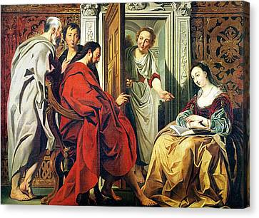 Christ At The House Of Martha And Mary Of Bethany Oil On Canvas Canvas Print by Jacob Jordaens