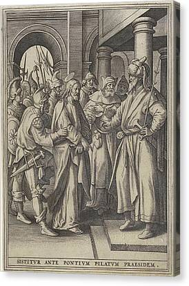 Christ Before Pilate, Hieronymus Wierix, Maerten De Vos Canvas Print by Hieronymus Wierix And Maerten De Vos And Hans Van Luyck