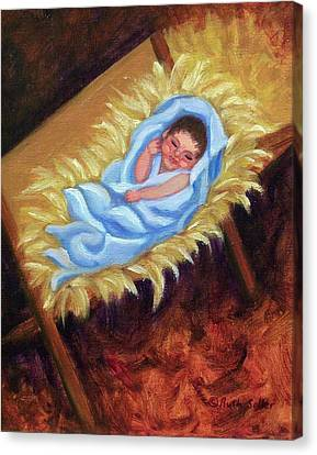 Christ Child In Manger Canvas Print