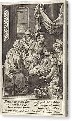 Christ Child Sleeps In The Crib, Hieronymus Wierix Canvas Print by Hieronymus Wierix