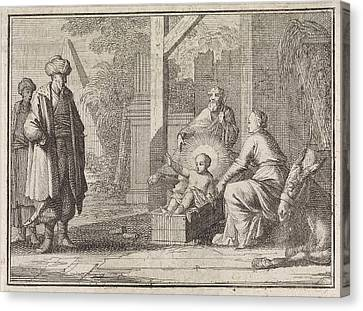 Christ Child Speaks From The Manger To An Easterner Canvas Print by Caspar Luyken And Christoph Weigel And Frantz Martin Hertzen