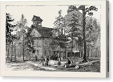 Christ Church And Public School, Thomas Hughes Settlement Canvas Print by American School