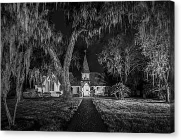 Christ Church Bw Canvas Print by Debra and Dave Vanderlaan
