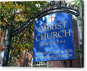 Christ Church Sign -- Philadelphia Canvas Print by Stephen Stookey