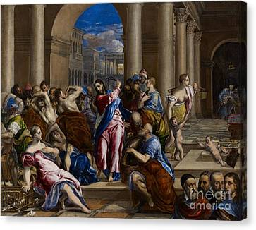 Christ Driving The Money Changers From The Temple Canvas Print by El Greco