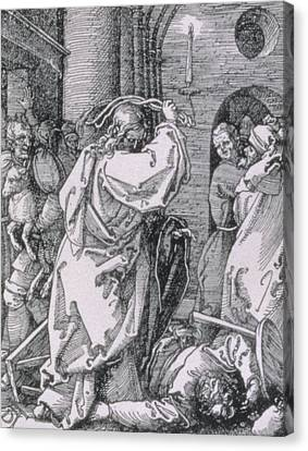 Christ Expelling The Moneychangers From The Temple Canvas Print by Albrecht Durer or Duerer