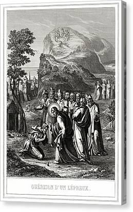 Christ Healing A Leper Canvas Print by National Library Of Medicine