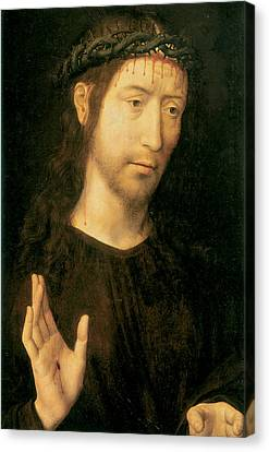 Christ In Blessing Canvas Print by Hugo Van Der Goes