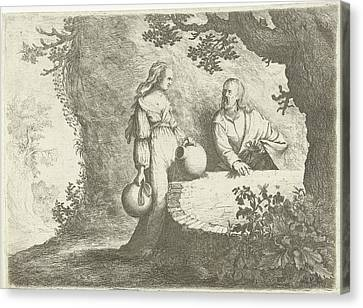 Christ In Conversation With The Samaritan Woman Canvas Print by Willem Basse