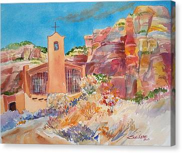 Christ In The Desert Monastery Canvas Print by Sue Kemp