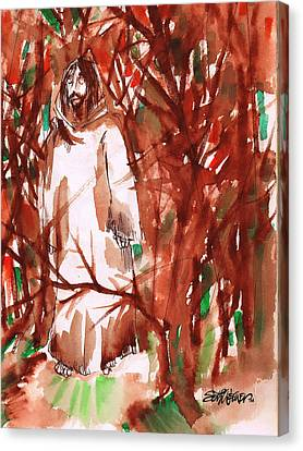 Christ In The Forest Canvas Print