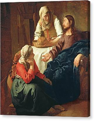 Christ In The House Of Martha And Mary Canvas Print by Jan Vermeer