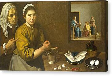 Christ In The House Of Martha And Mary Canvas Print by Diego Velazquez