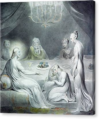 William And Mary Canvas Print - Christ In The House Of Martha And Mary Or The Penitent Magdalene by William Blake