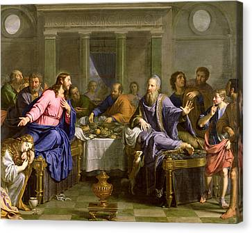 Christ In The House Of Simon The Pharisee Canvas Print by Philippe de Champaigne