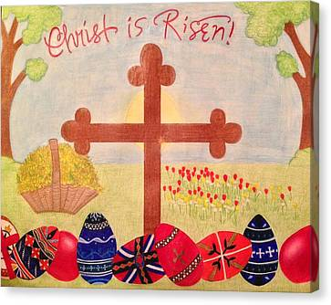 Orthodox Canvas Print - Christ Is Risen Pascha / Easter by Eleni Pessemier