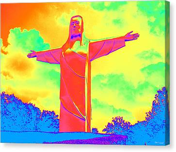 Christ Of The Ozarks In Primary Colors Canvas Print
