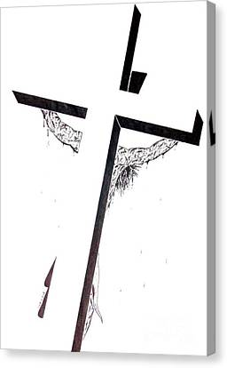 Canvas Print featuring the drawing Christ On Cross by Justin Moore