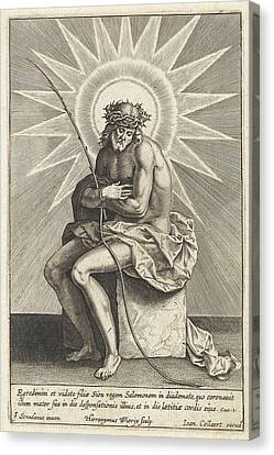 Christ On The Cold Stone, Hieronymus Wierix Canvas Print by Hieronymus Wierix And Jan Baptiste Collaert