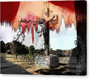 Christ On The Cross Canvas Print by Liane Wright