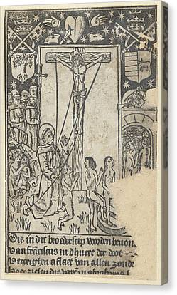 Christ On The Cross With St Canvas Print