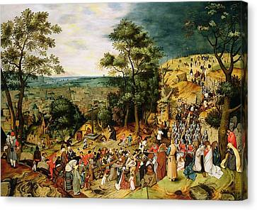 Christ On The Road To Calvary, 1607 Panel Canvas Print by Pieter the Younger Brueghel