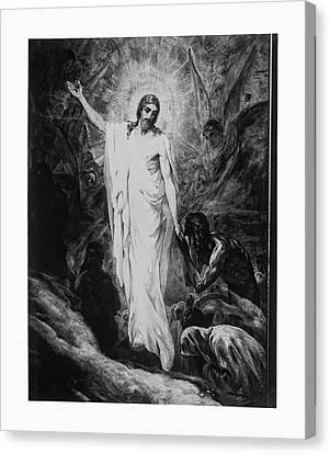 Christ Preaching To The Spirits In Prison C. 1910 Canvas Print by Daniel Hagerman
