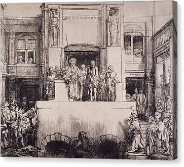 Christ Presented To The People, 1655 Canvas Print by Rembrandt Harmensz. van Rijn
