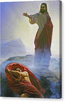 Christ Rebuking Satan Canvas Print by Carl Bloch