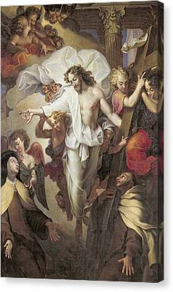 Christ Resurrected Between St Teresa Of Avila Canvas Print by Michel des Gobelins Corneille