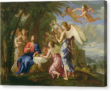 Canvas Print featuring the painting Christ Served By The Angels - Jacques Stella - 1656 by Jacques Stella