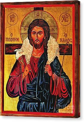 Christ The Good Shepherd Icon Canvas Print by Ryszard Sleczka