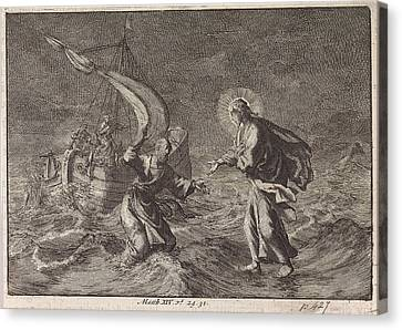 Christ Walking On Water During A Storm On The Sea Of Galilee Canvas Print by Jan Luyken And Pieter Mortier