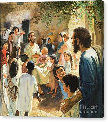 Christ With Children Canvas Print