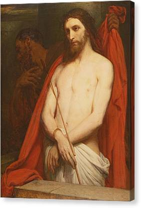 Christ With The Reed Oil On Canvas Canvas Print by Ary Scheffer