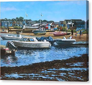 Christchurch Hengistbury Head Beach With Boats Canvas Print by Martin Davey